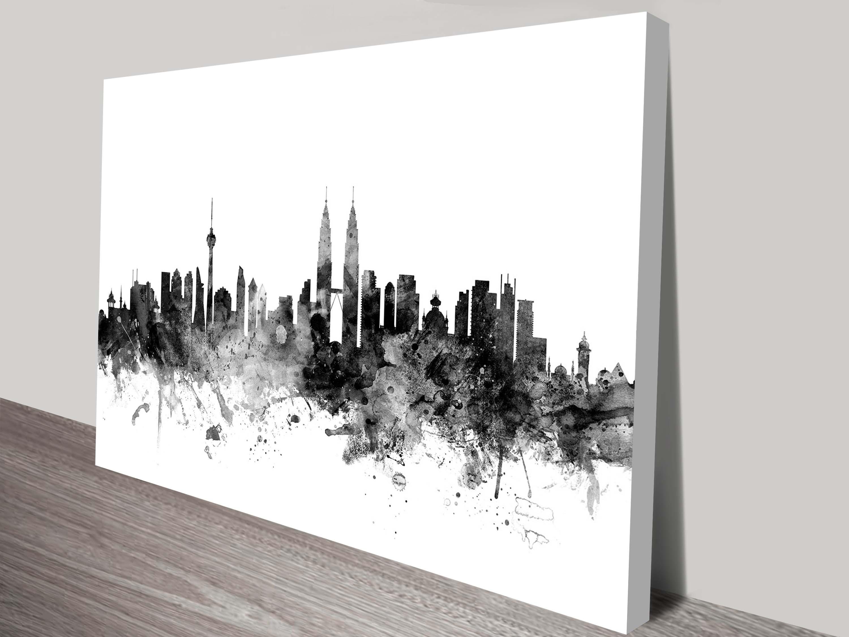 Kuala Lumpur Malaysia City Skyline Art Michael Tompsett Throughout Latest Malaysia Canvas Wall Art (Gallery 1 of 15)