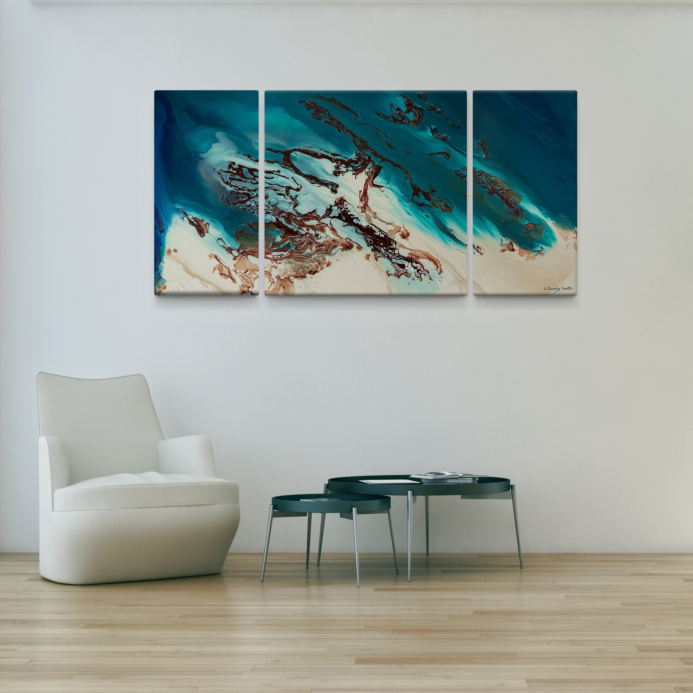 L Dawning Scott 'coastal Beauty' 30X60 Triptych Canvas Wall Art Intended For Recent Joval Canvas Wall Art (View 8 of 15)