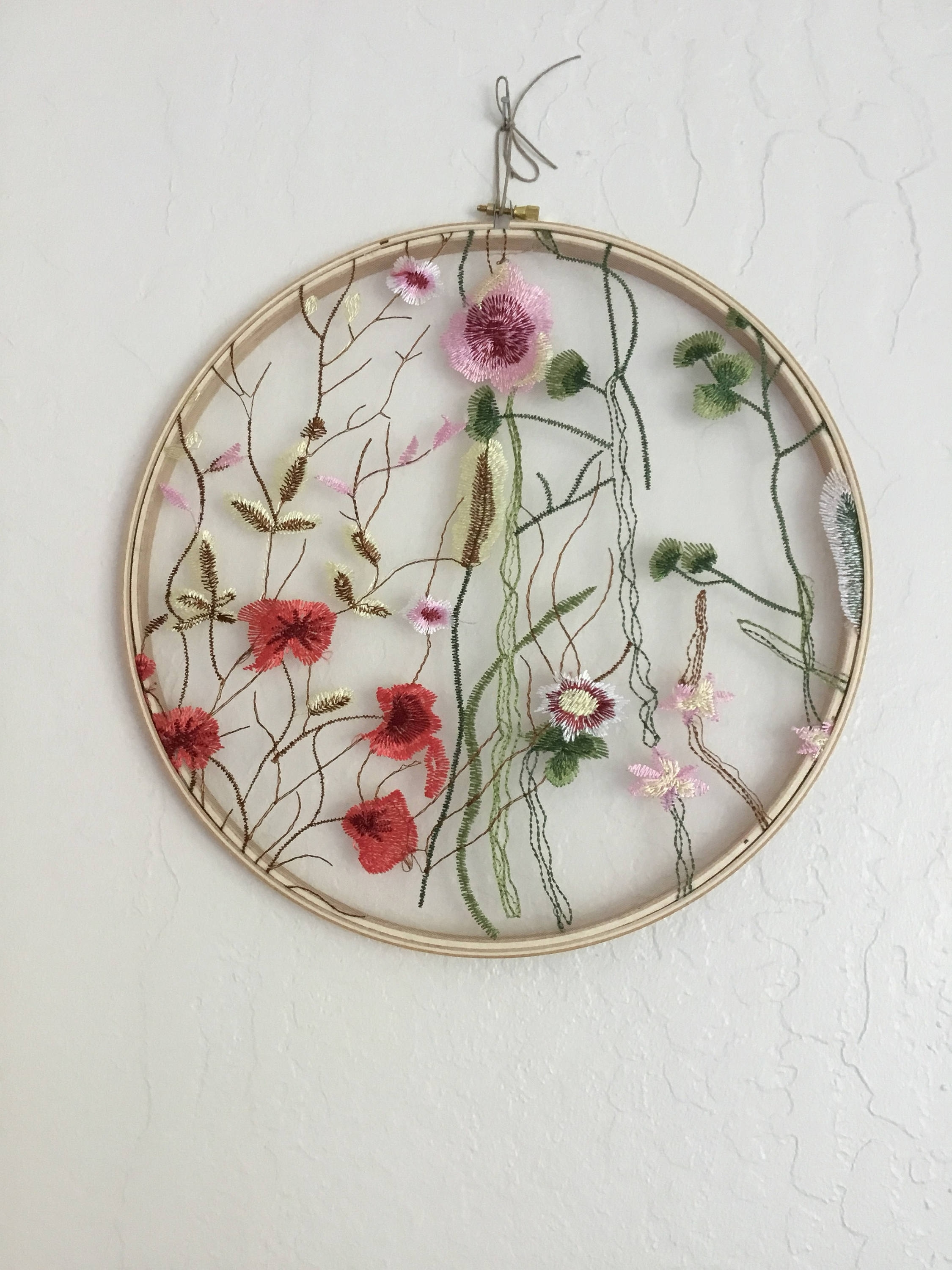 Lace Wall Hanging, Birthday Gift, Boho Decor, Lace Fabric, Floral For Current Fabric Hoop Wall Art (View 15 of 15)