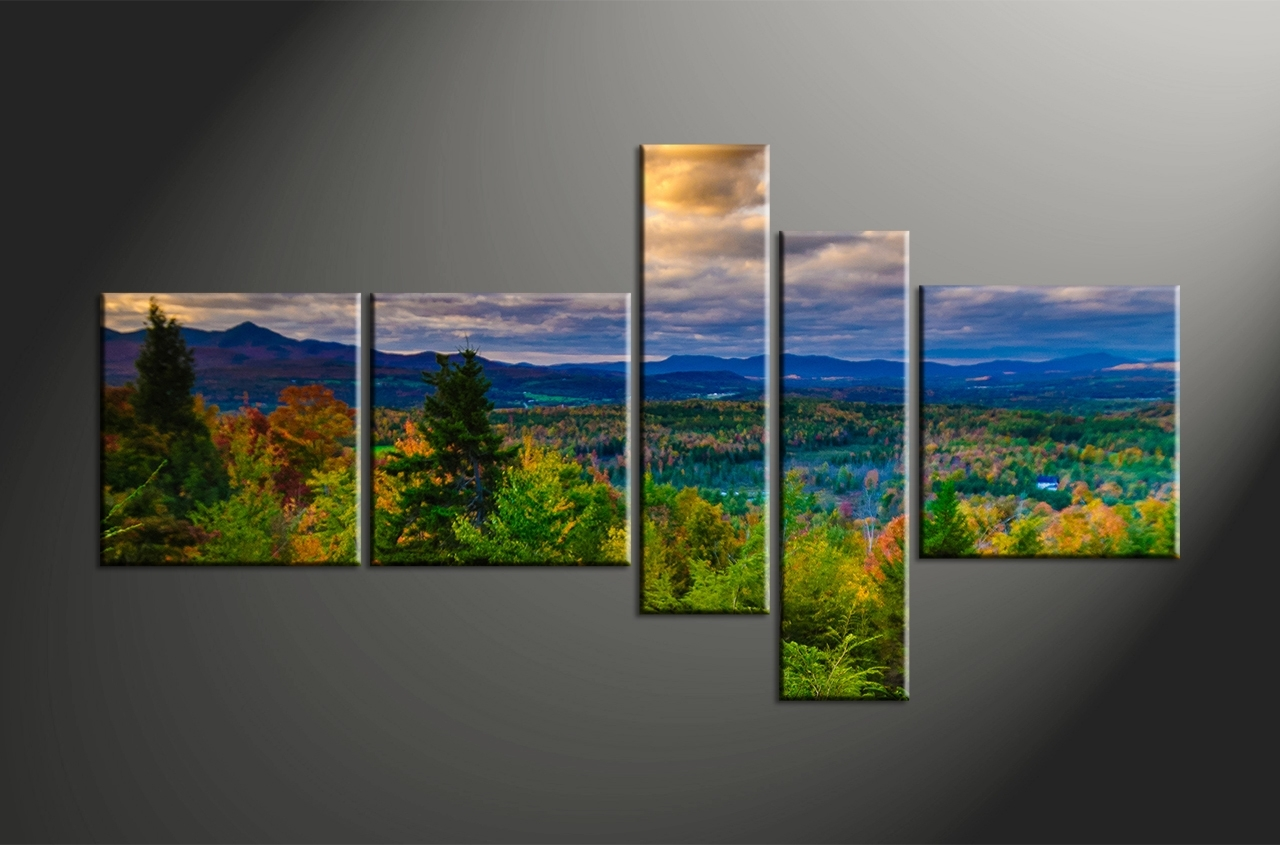 Landscape Canvas Prints 5 Piece Green Nature Artwork 7 3 Trees With Regard To Most Popular Landscape Canvas Wall Art (Gallery 6 of 15)