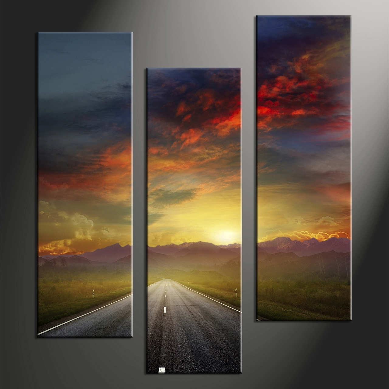Landscape Canvas Prints Art 4 Triptych Colorful Sunset Mountain Inside Most Current Landscape Canvas Wall Art (View 12 of 15)
