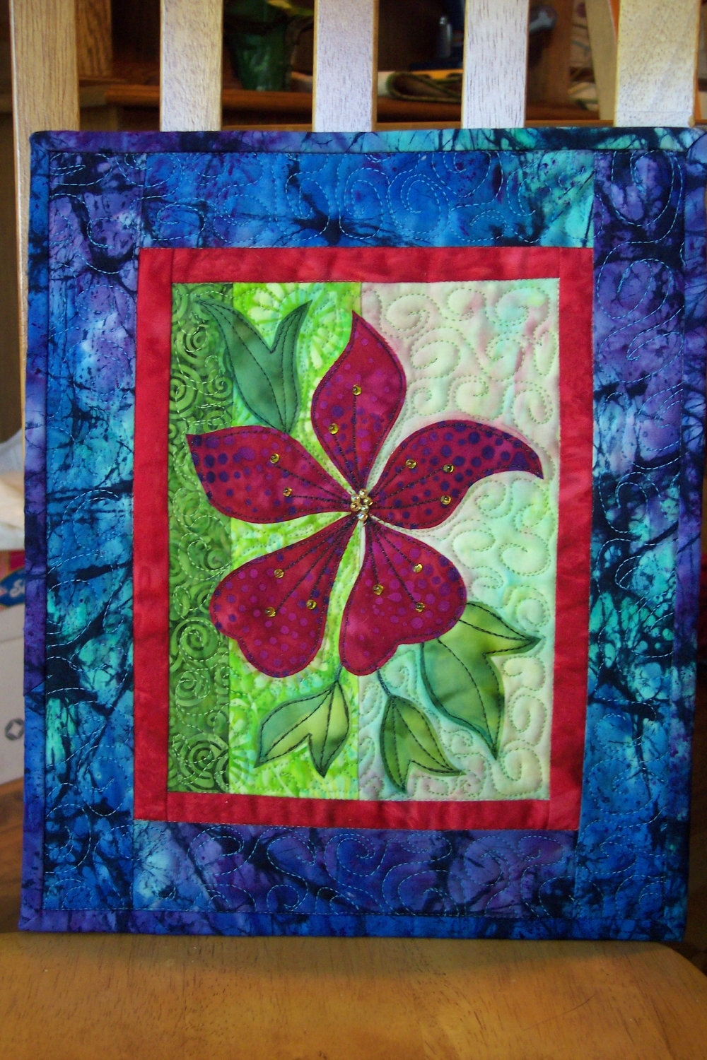 Landscape Quilt, Batik Fabric, Craft Pattern, Mixed Media, Wall intended for Recent Quilt Fabric Wall Art