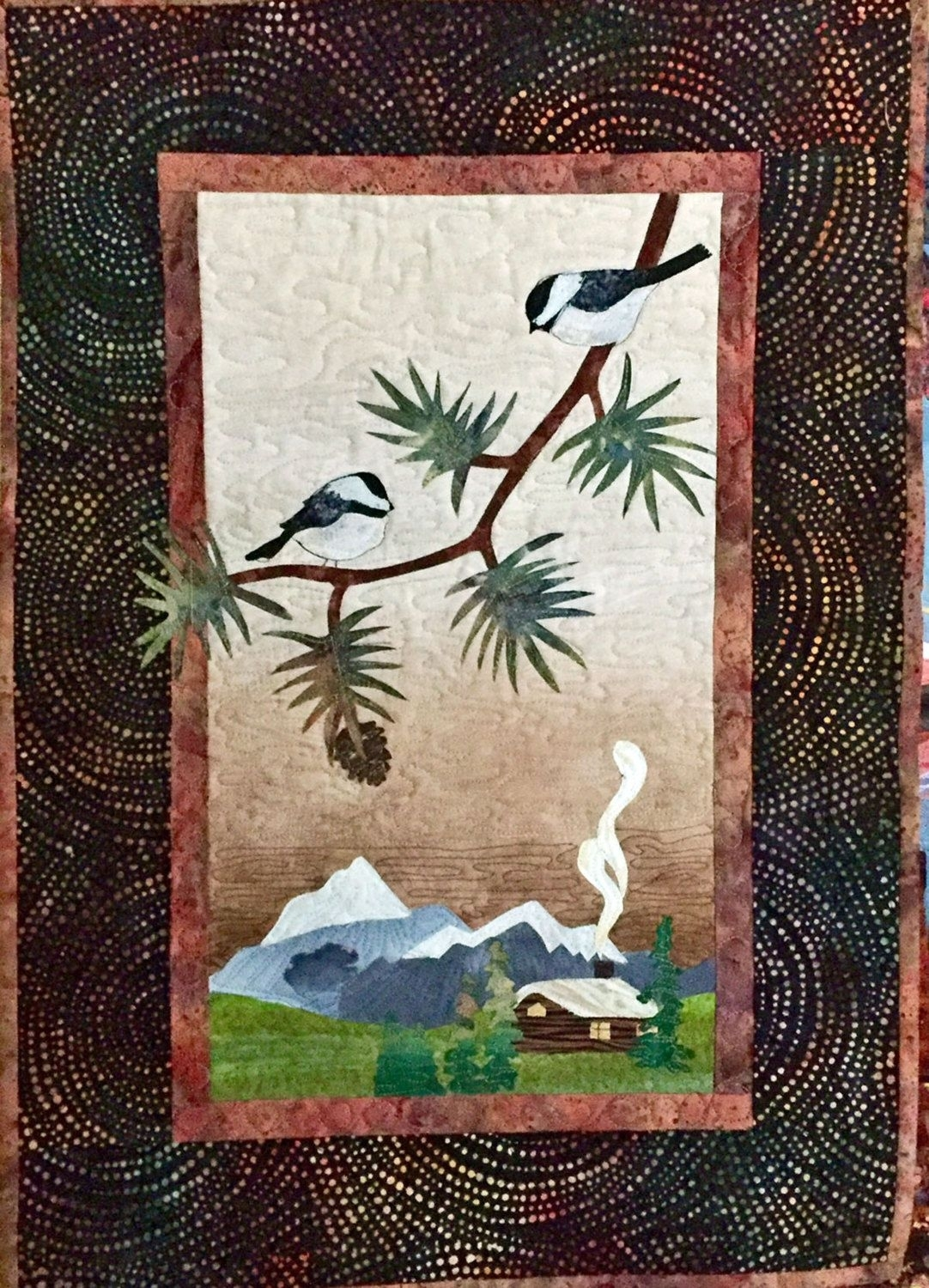 Landscape Quilted Fiber Wall Hanging Chickadees, Log Cabin Inside 2018 Fabric Applique Wall Art (Gallery 13 of 15)