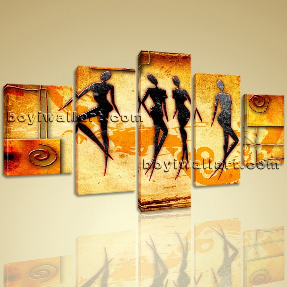 Large African Motive Ethnic Retro Vintage Figure Contemporary On intended for Current Ethnic Canvas Wall Art