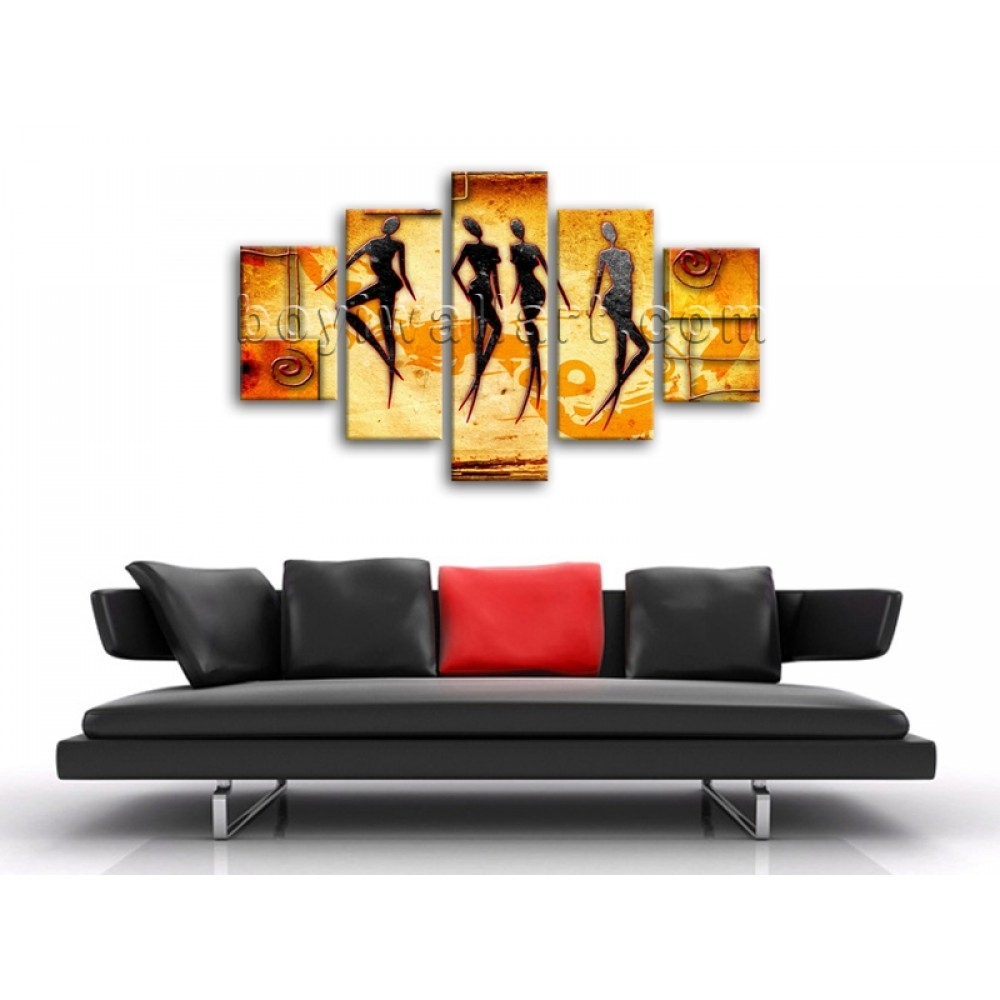 Large African Motive Ethnic Retro Vintage Figure Contemporary On With Current Ethnic Canvas Wall Art (View 11 of 15)