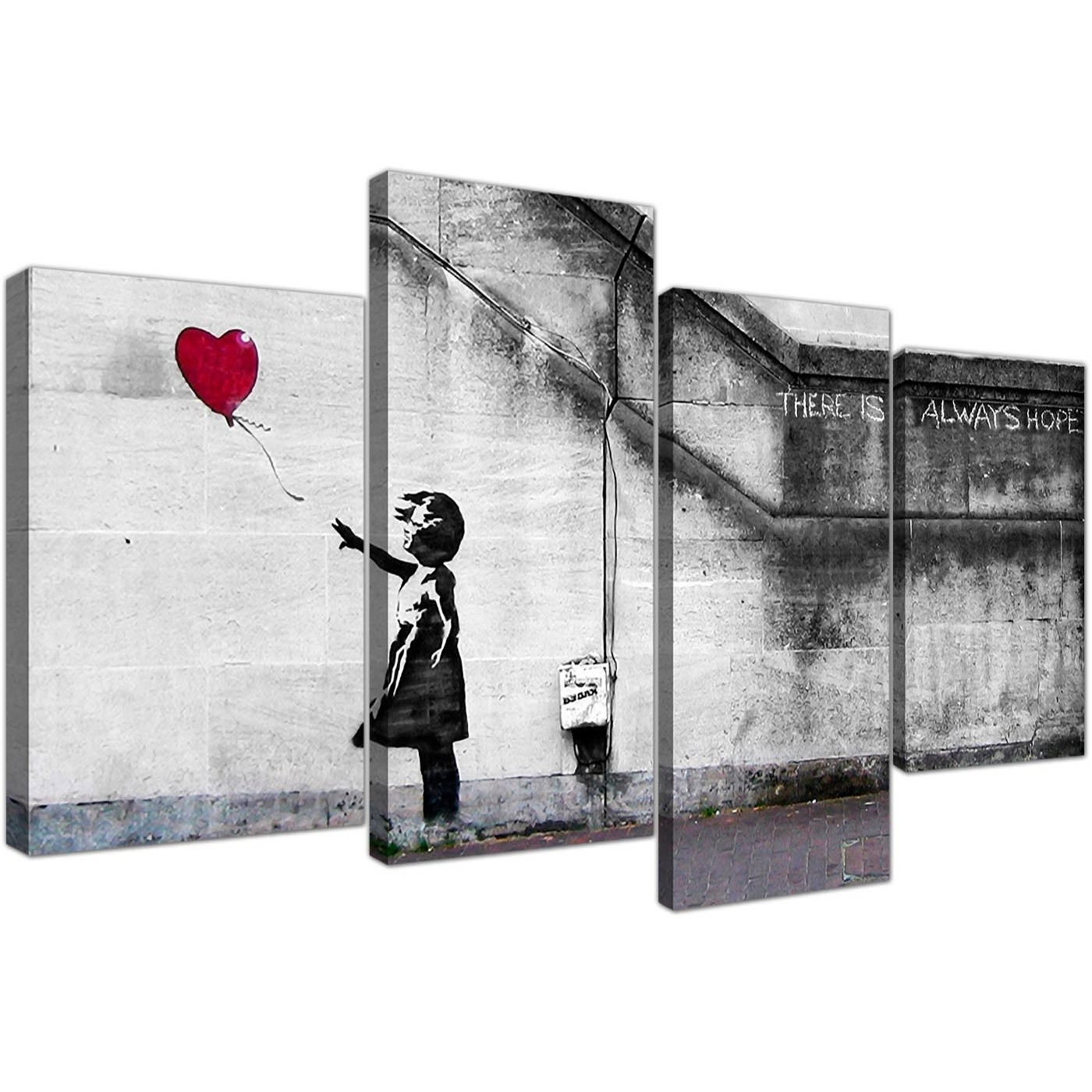 Large Banksy Canvas Prints – Balloon Girl Red Regarding Latest Red Canvas Wall Art (View 10 of 15)