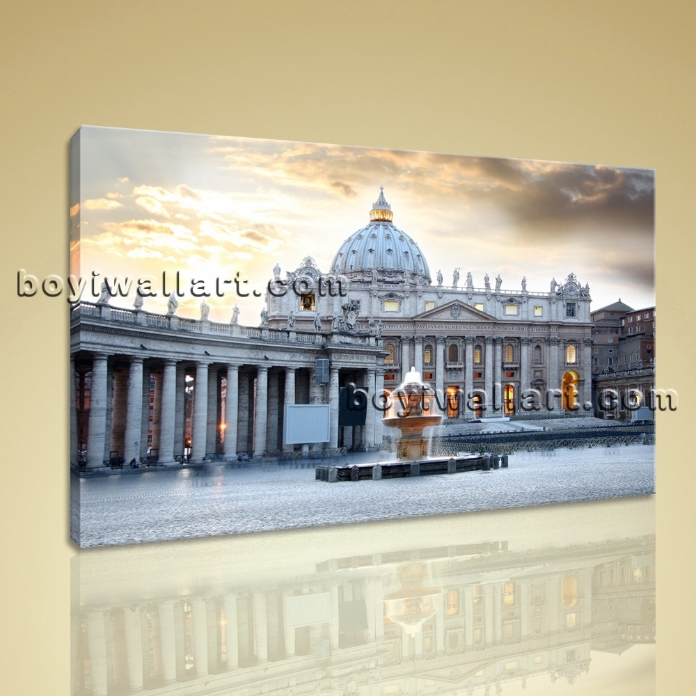 Large Basilica Rome Italy Cityscape Photography On Canvas Wall Art With Regard To 2018 Canvas Wall Art Of Rome (Gallery 11 of 15)