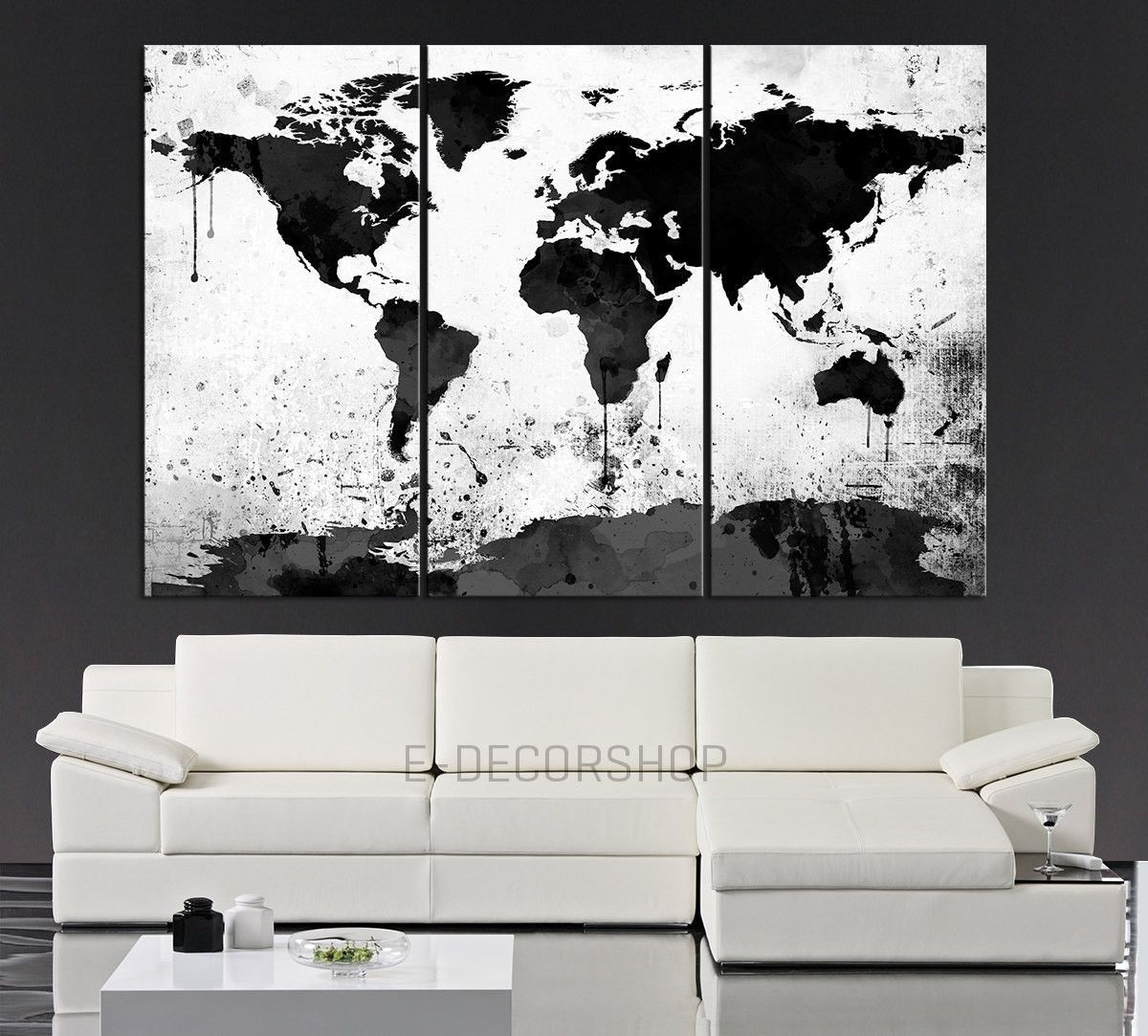 Large Black White World Map Canvas Print – 3 Piece Watercolor Inside Recent Quirky Canvas Wall Art (View 10 of 15)