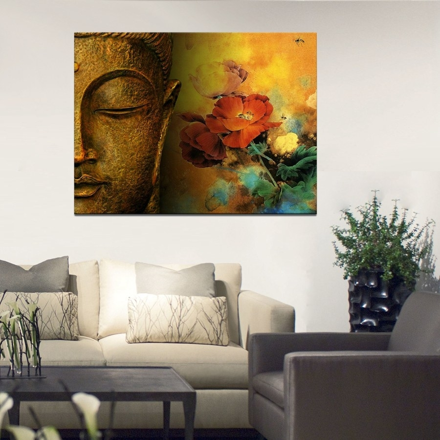Large Canvas Print Buddha Well Designed With Lotus Flower Canvas regarding 2018 Large Canvas Wall Art