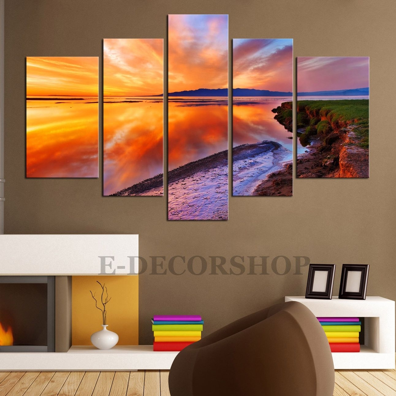 Large Canvas Wall Art – Sunset 5 Piece Canvas Art Print For Home Inside Most Recent Big W Canvas Wall Art (View 8 of 15)