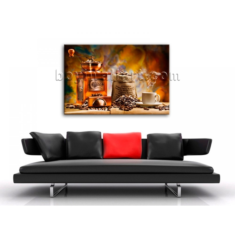 Large Contemporary Canvas Wall Art Print Coffee Restaurant Mural For 2017 Murals Canvas Wall Art (View 8 of 15)