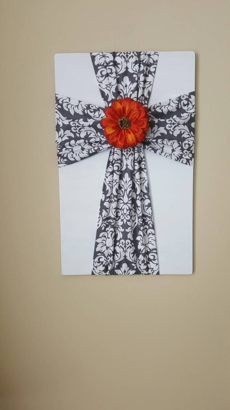 Large Fabric Cross On Wooden Plaque, Cross Wall Decor, Christian Regarding Most Current Fabric Cross Wall Art (View 10 of 15)