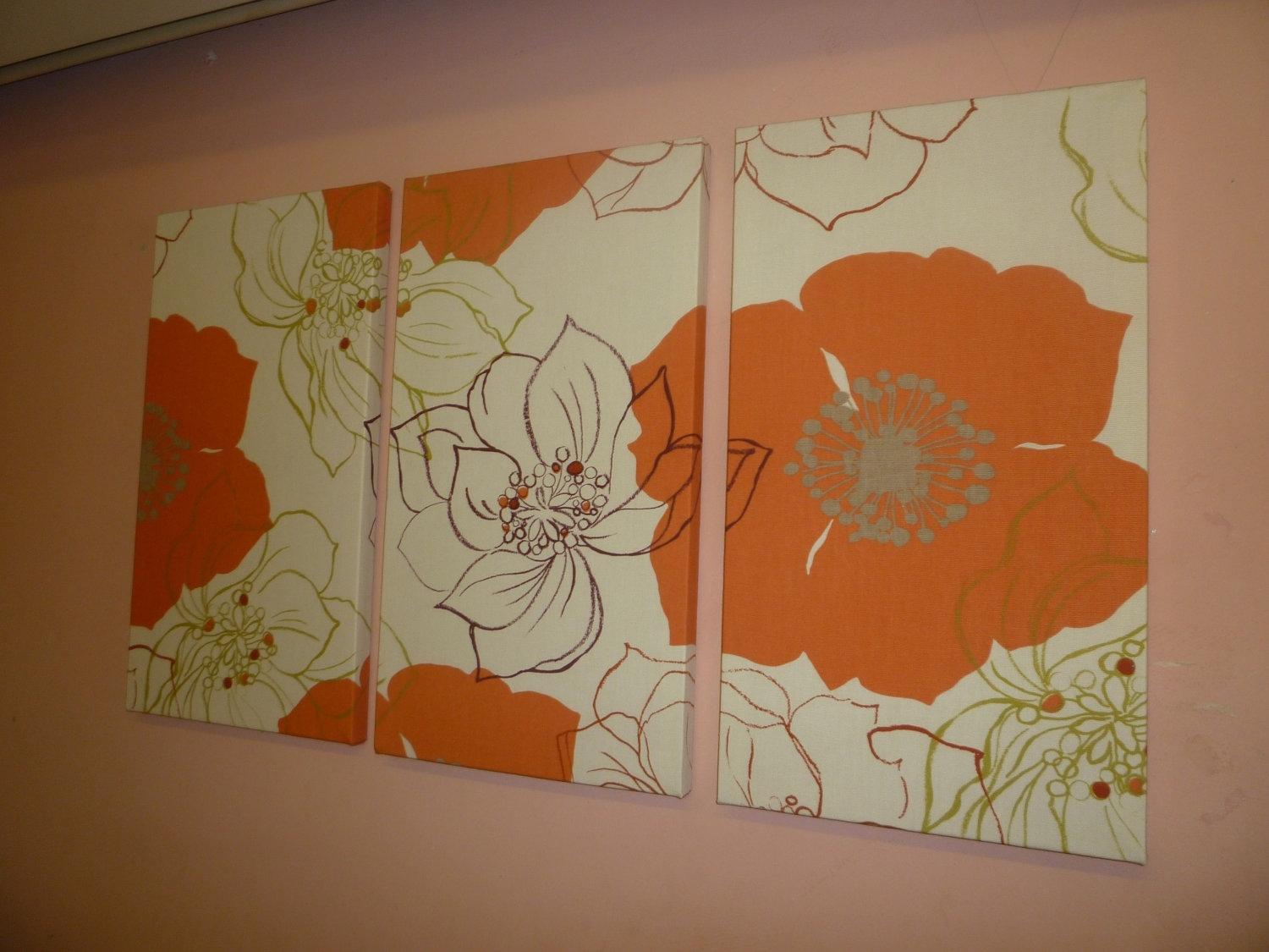 Large Fabric Wall Art Orange Brown Green Funkywickedwalls Pertaining To Most Recent Large Fabric Wall Art (Gallery 9 of 15)