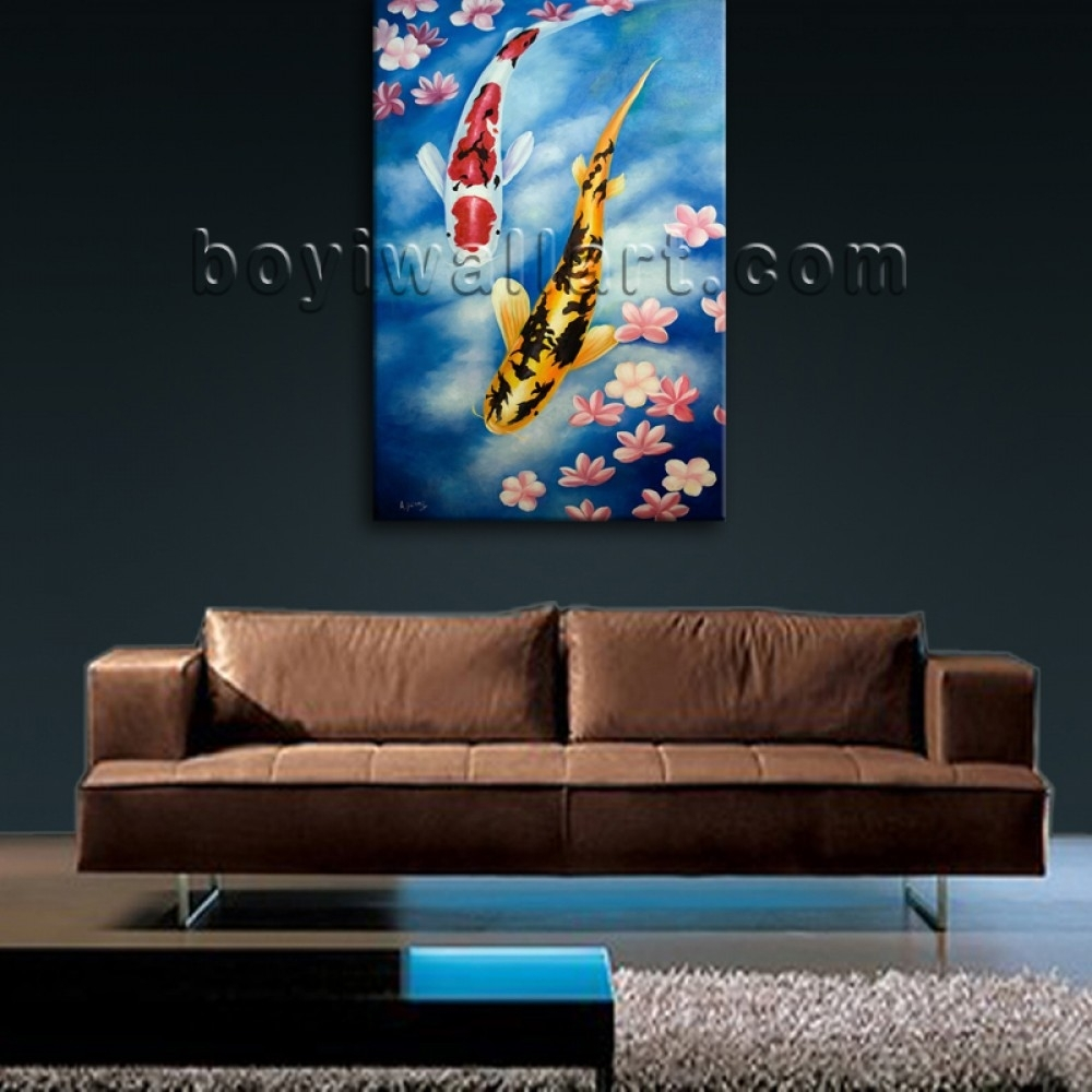 Large Giclee Prints On Canvas Feng Shui Zen Wall Art Koi Fish pertaining to Most Popular Koi Canvas Wall Art
