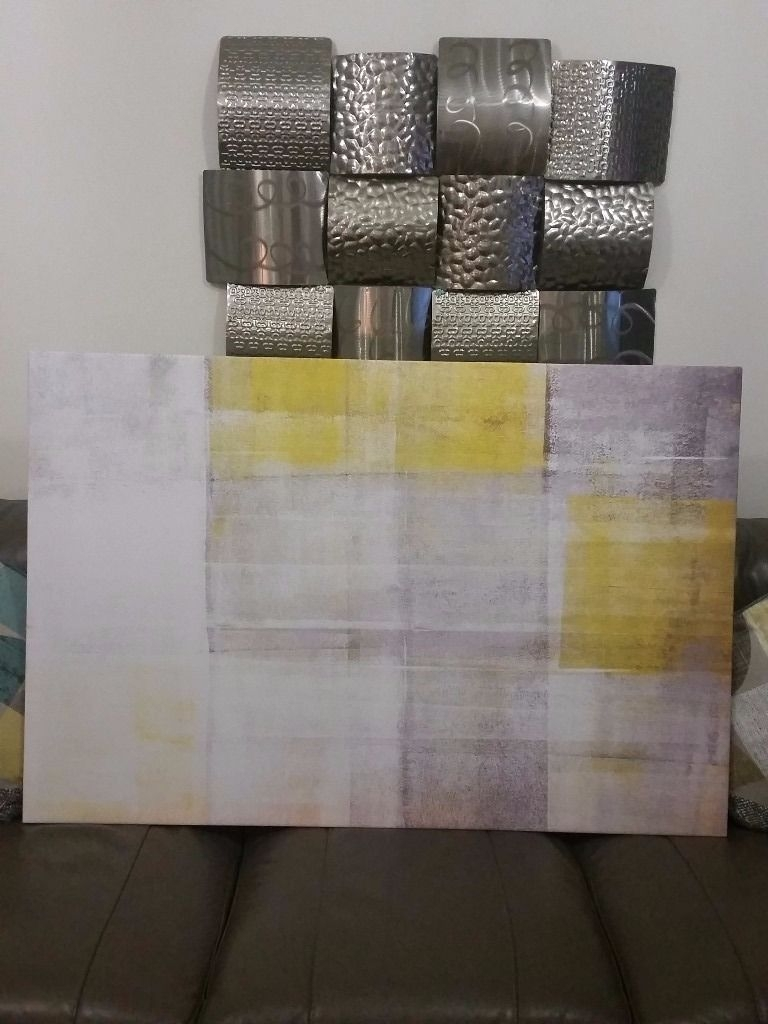 Large Grey & Yellow Canvas Wall Art Picture Brand New & Boxed | In With Regard To Most Up To Date Grey Canvas Wall Art (View 10 of 15)