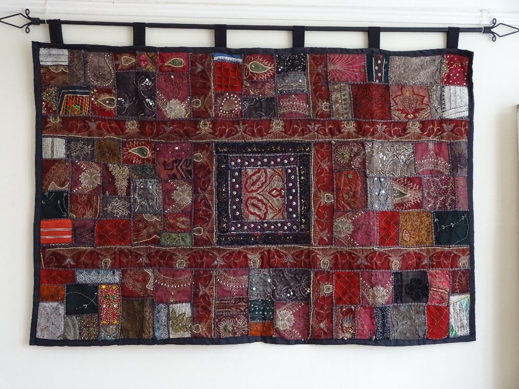 Large Indian Fabric Wall Hanging | In Croydon, London | Gumtree With Regard To Most Recently Released Red Fabric Wall Art (View 9 of 15)