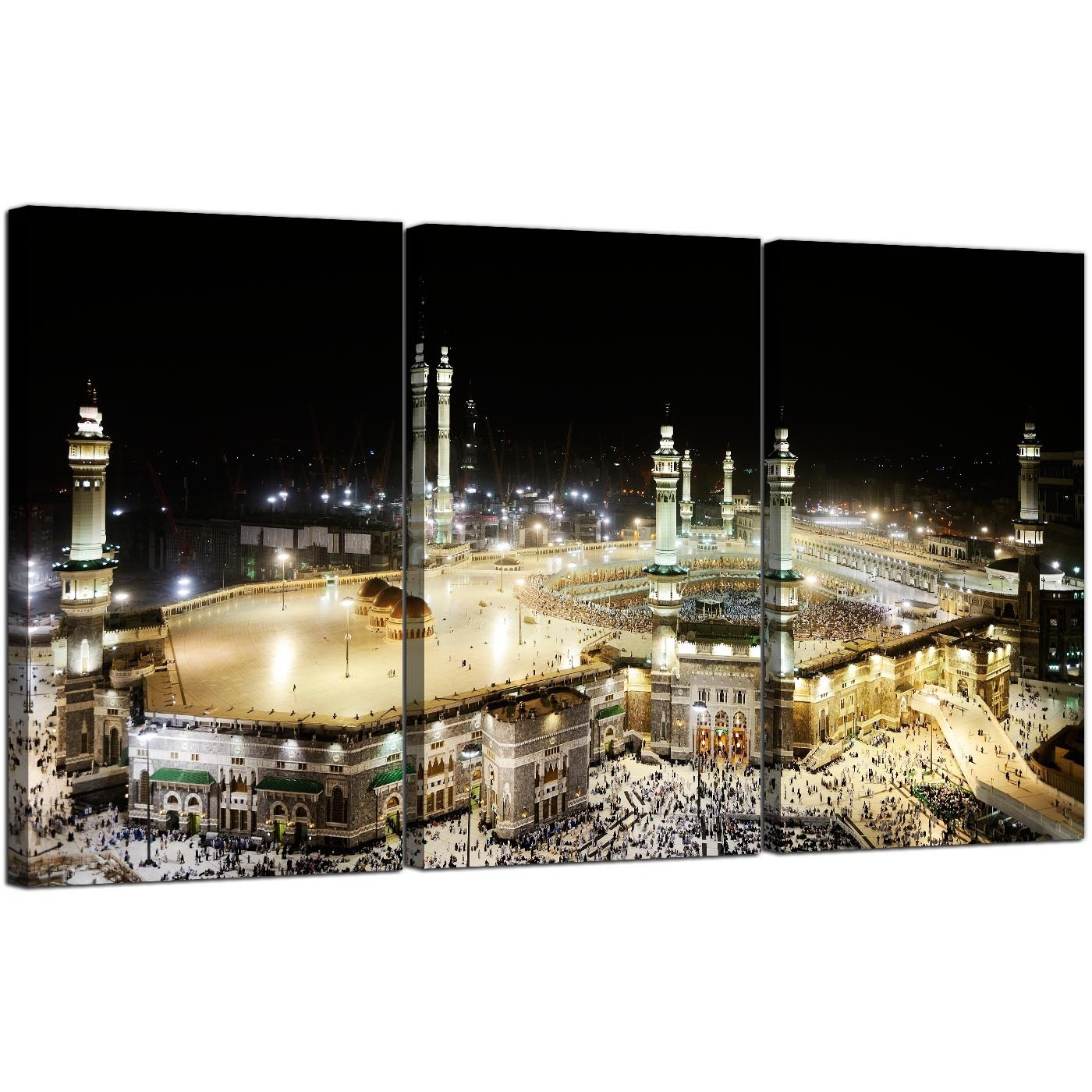 Large Islamic Mecca At Hajj Canvas Pictures Set Of 3 For A Living Room for Latest Islamic Canvas Wall Art