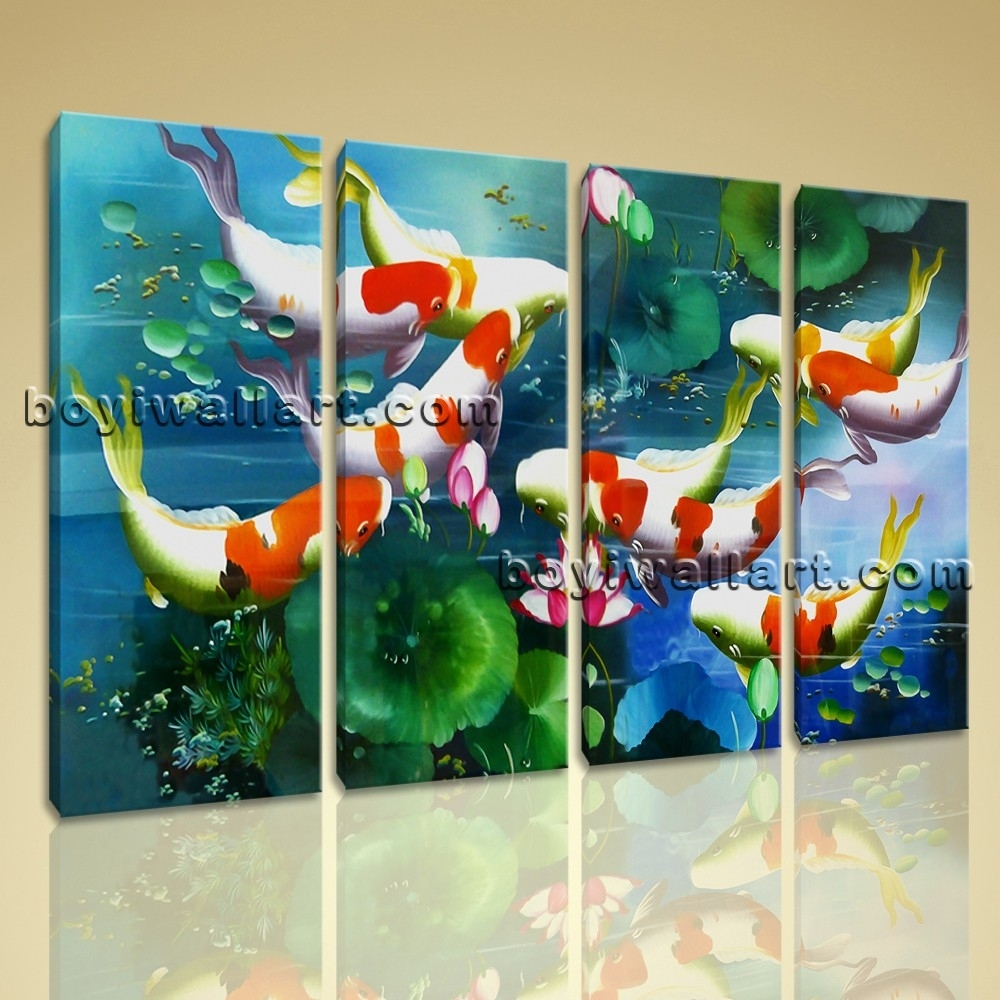 Large Koi Fish Painting Feng Shui Contemporary Canvas Wall Art Inside 2018 Koi Canvas Wall Art (Gallery 7 of 15)
