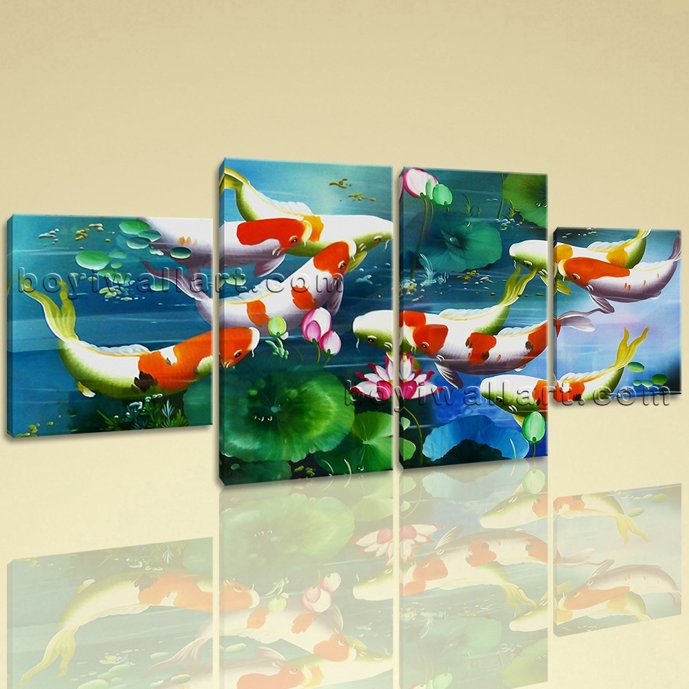 Large Koi Fish Painting Wall Art Dining Room Tetraptych Panels With Regard To 2018 Koi Canvas Wall Art (Gallery 11 of 15)