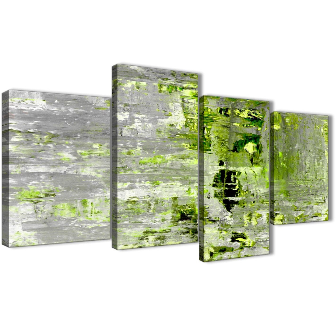 Large Lime Green Grey Abstract Painting Wall Art Print Canvas Pertaining To Most Current Lime Green Canvas Wall Art (View 13 of 15)