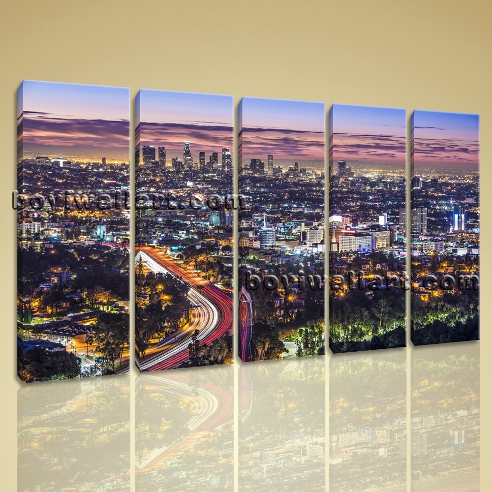 Large Los Angeles Panorama Cityscape On Canvas Wall Art Giclee Within Most Current Los Angeles Canvas Wall Art (View 9 of 15)