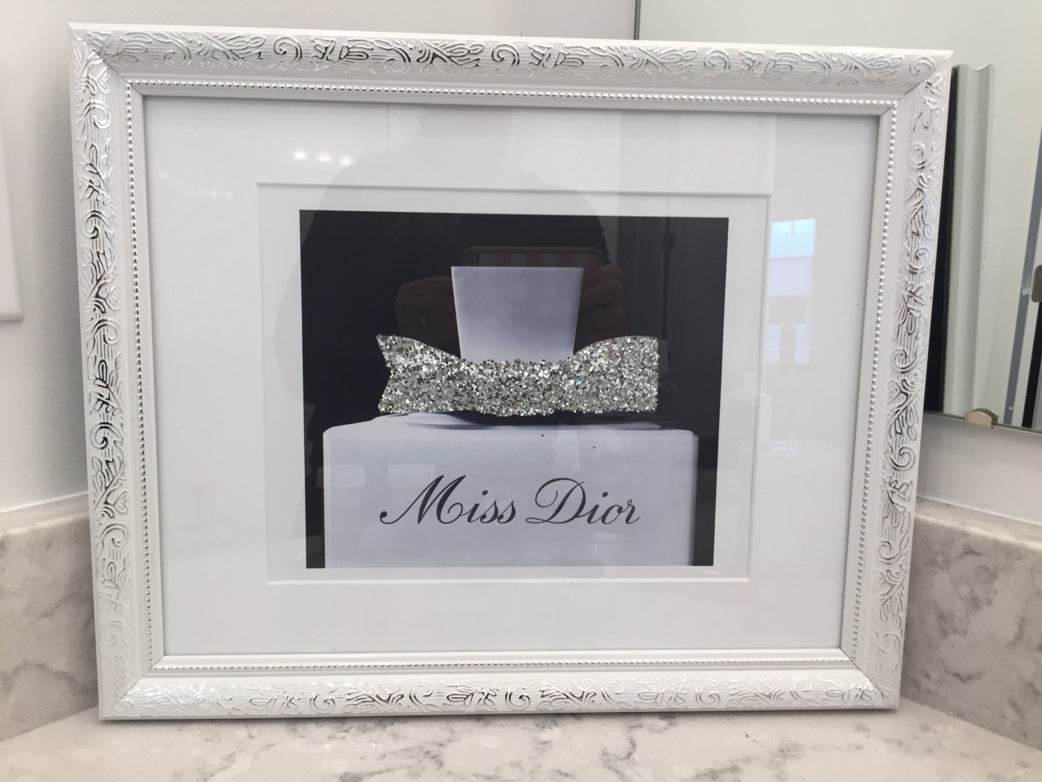 Large Miss Dior Black And White Ornate Framed Silver Glitter Wall Intended For 2017 Black Framed Art Prints (Gallery 10 of 15)
