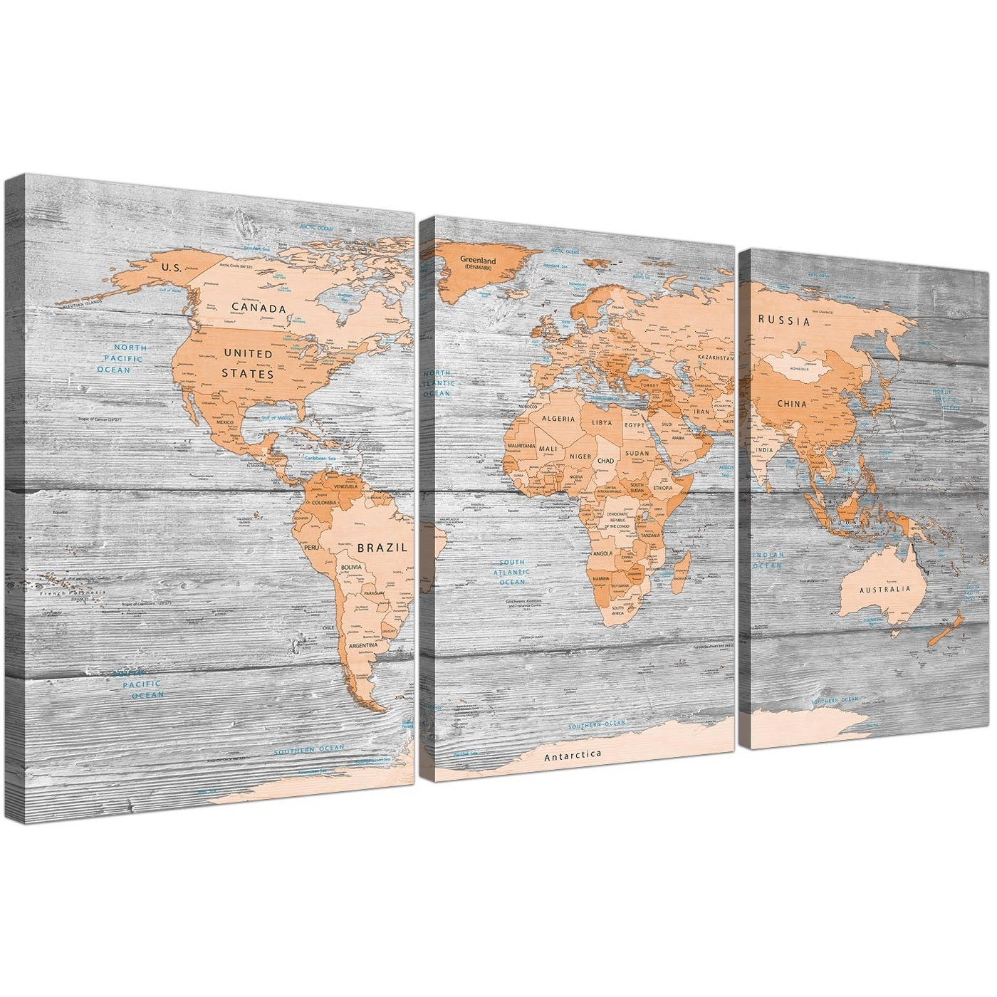 Large Orange Grey Map Of World Atlas Canvas Wall Art Print – Split Within Latest Orange Canvas Wall Art (View 4 of 15)