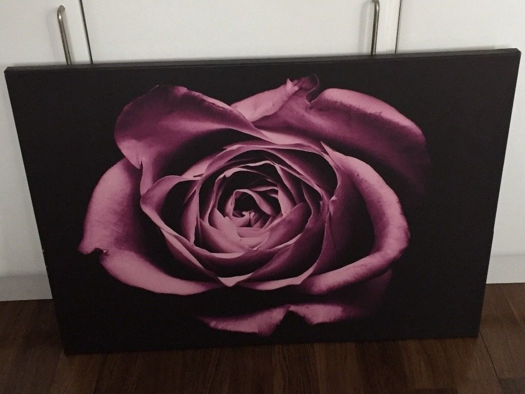 Large Purple And Black Rose Canvas Wall Art Picture | In Wirral Inside Most Recent Roses Canvas Wall Art (Gallery 15 of 15)