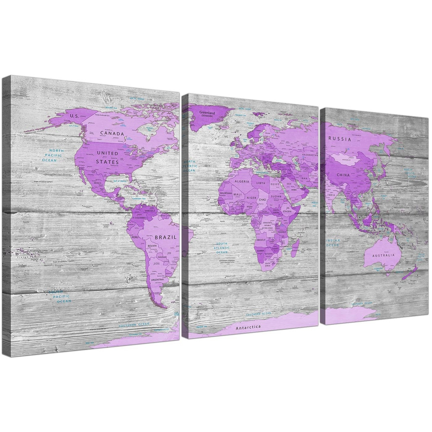 Large Purple And Grey Map Of World Atlas Canvas Wall Art Print with Current Lilac Canvas Wall Art