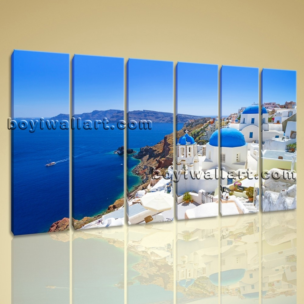 Large Santorini Island Greece Landscape On Canvas Wall Art Print Throughout Latest Greece Canvas Wall Art (View 11 of 15)