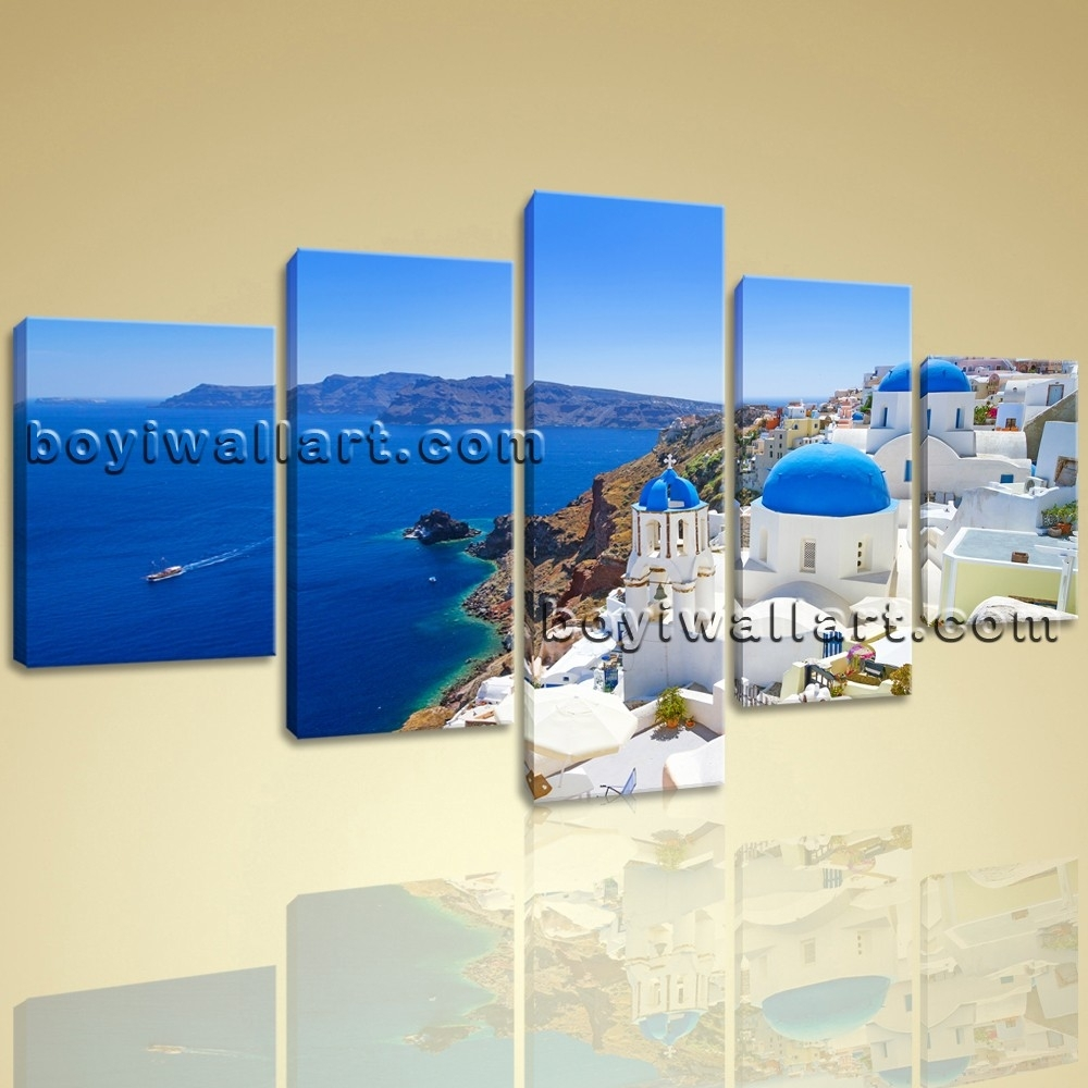 Large Santorini Island Greece Landscape Photography Canvas Wall pertaining to Latest Greece Canvas Wall Art