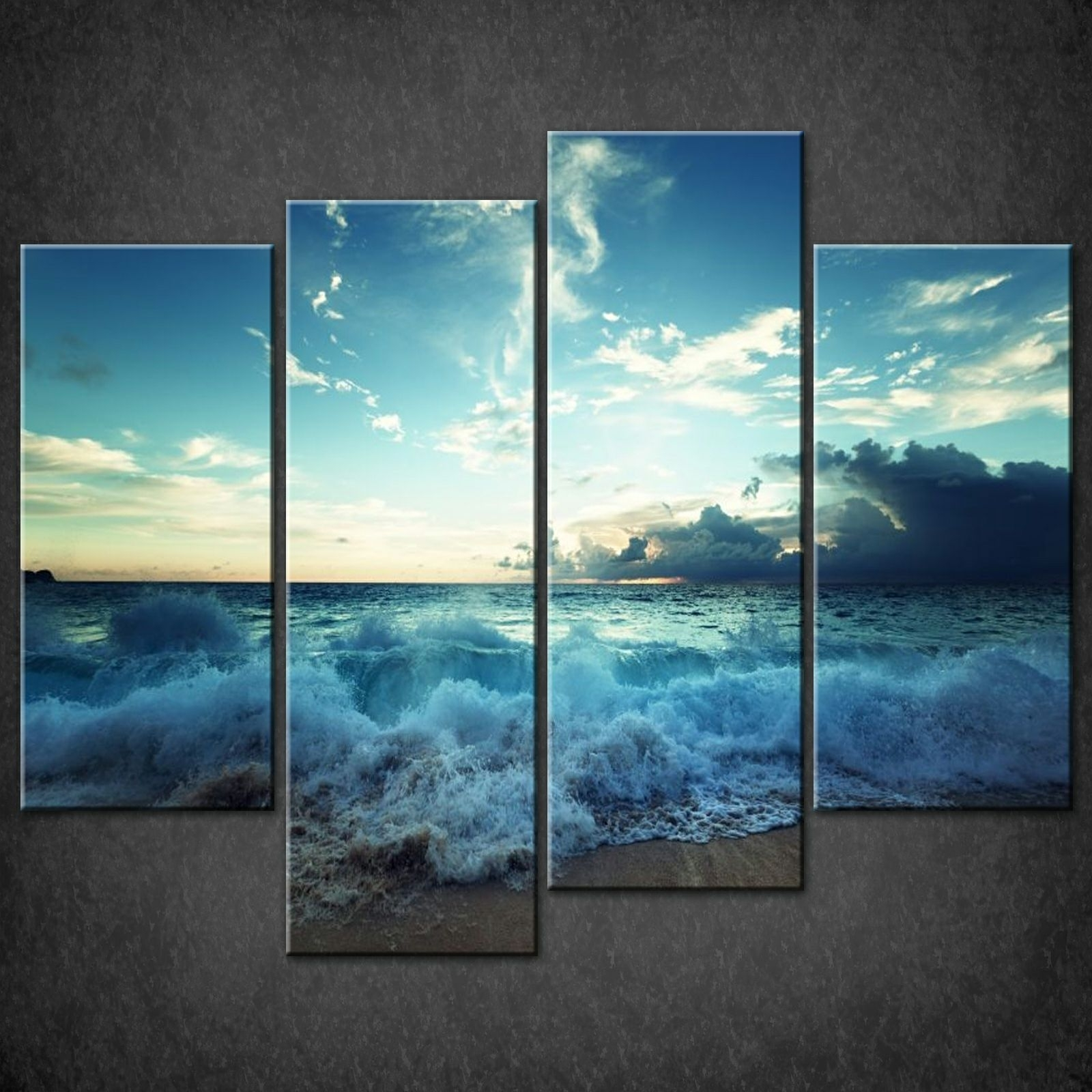 Large Teal Seascape Sunset Canvas Pictures Wall Art Split Multi 4 Within Latest Duck Egg Blue Canvas Wall Art (Gallery 8 of 15)