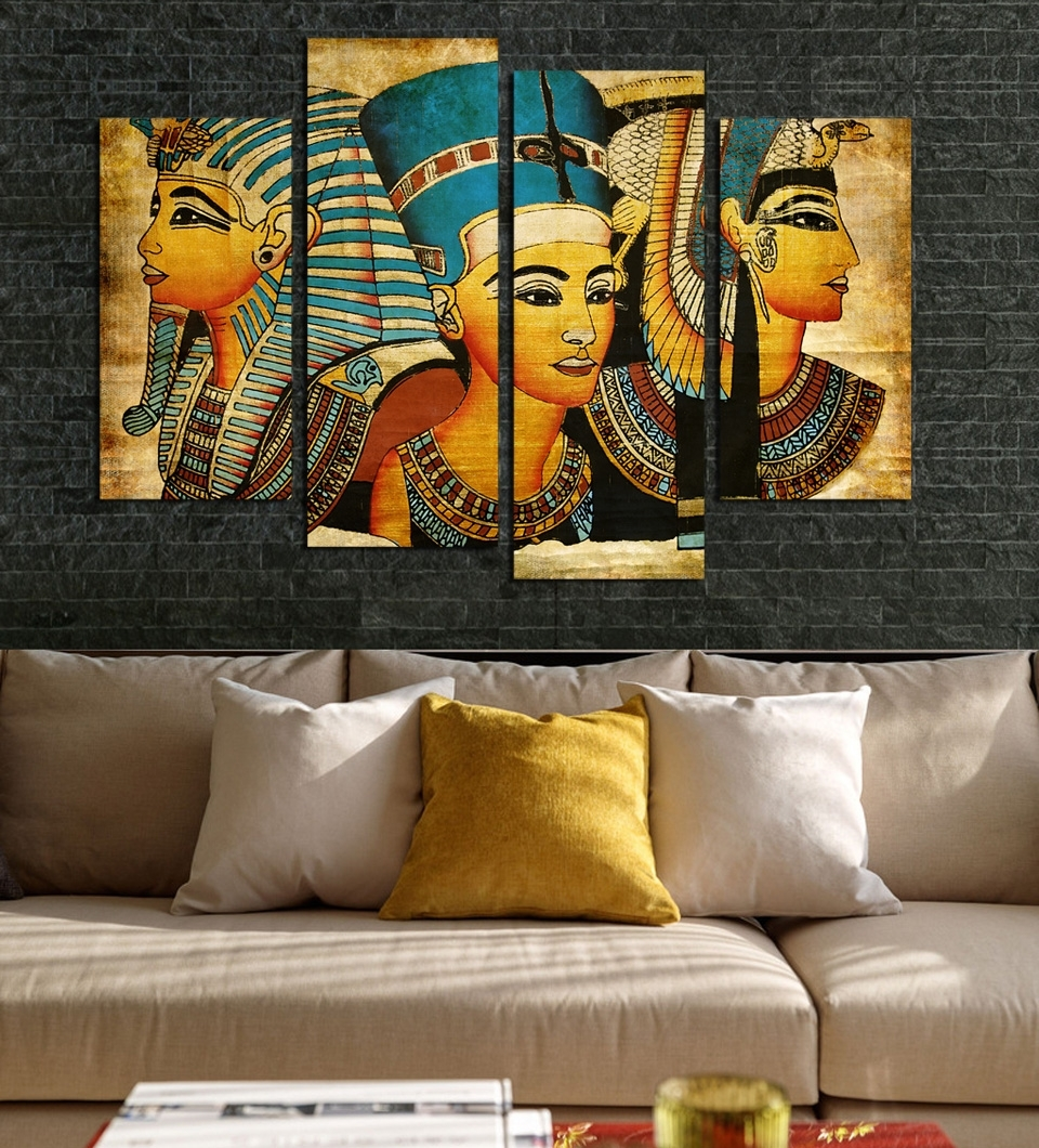 Large Wall Art Canvas Pharaoh Of Egyptian Home Decoration Inside Latest Egyptian Canvas Wall Art (View 13 of 15)