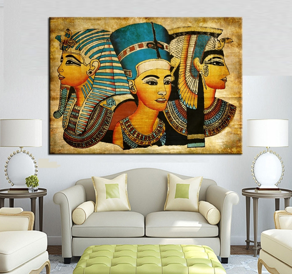 Large Wall Art Canvas Pharaoh Of Egyptian Home Decoration With Regard To Latest Egyptian Canvas Wall Art (View 6 of 15)