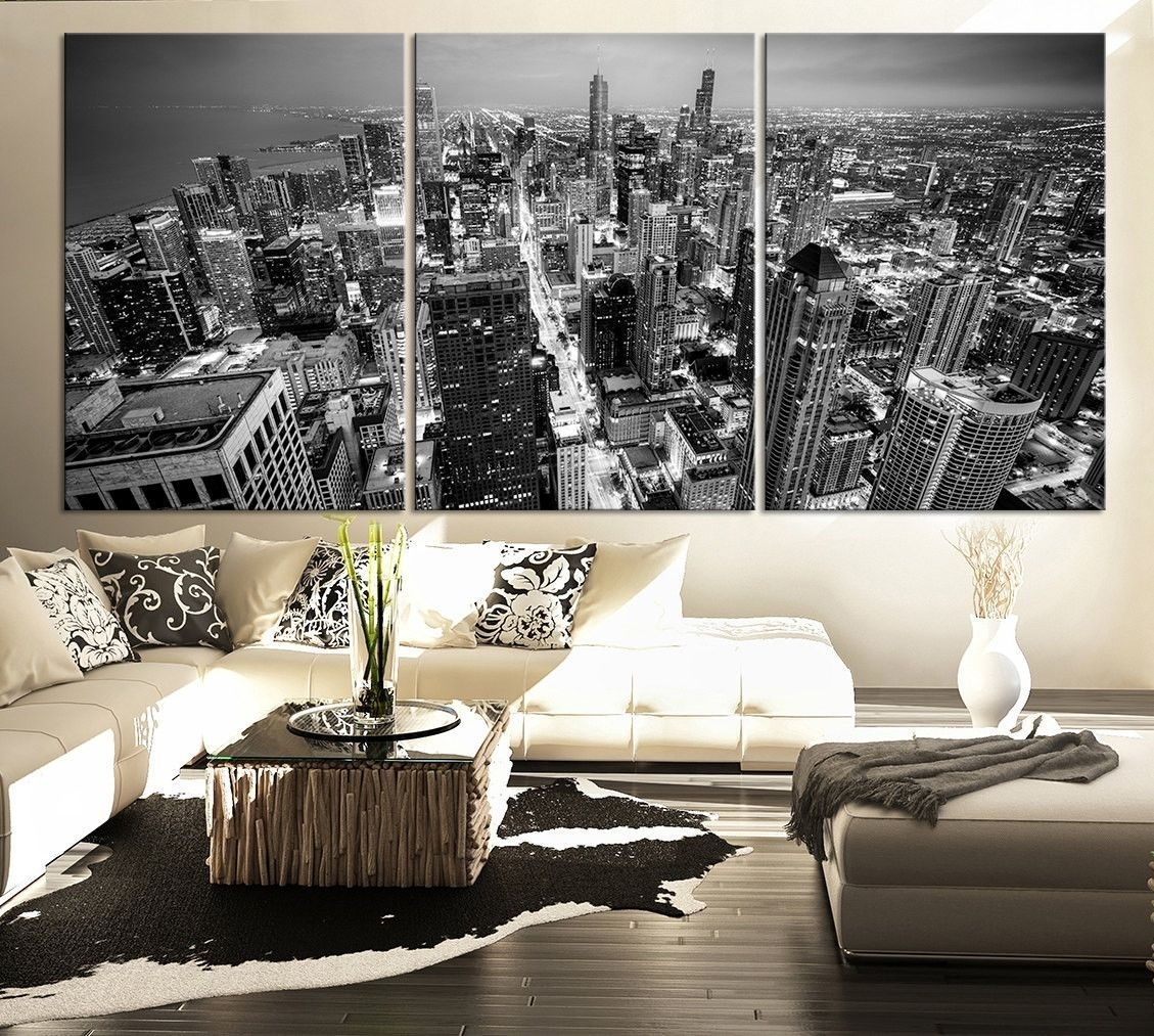 Large Wall Art Canvas Print Black And White Chicago Skyline – 3 For 2018 House Of Fraser Canvas Wall Art (View 9 of 15)