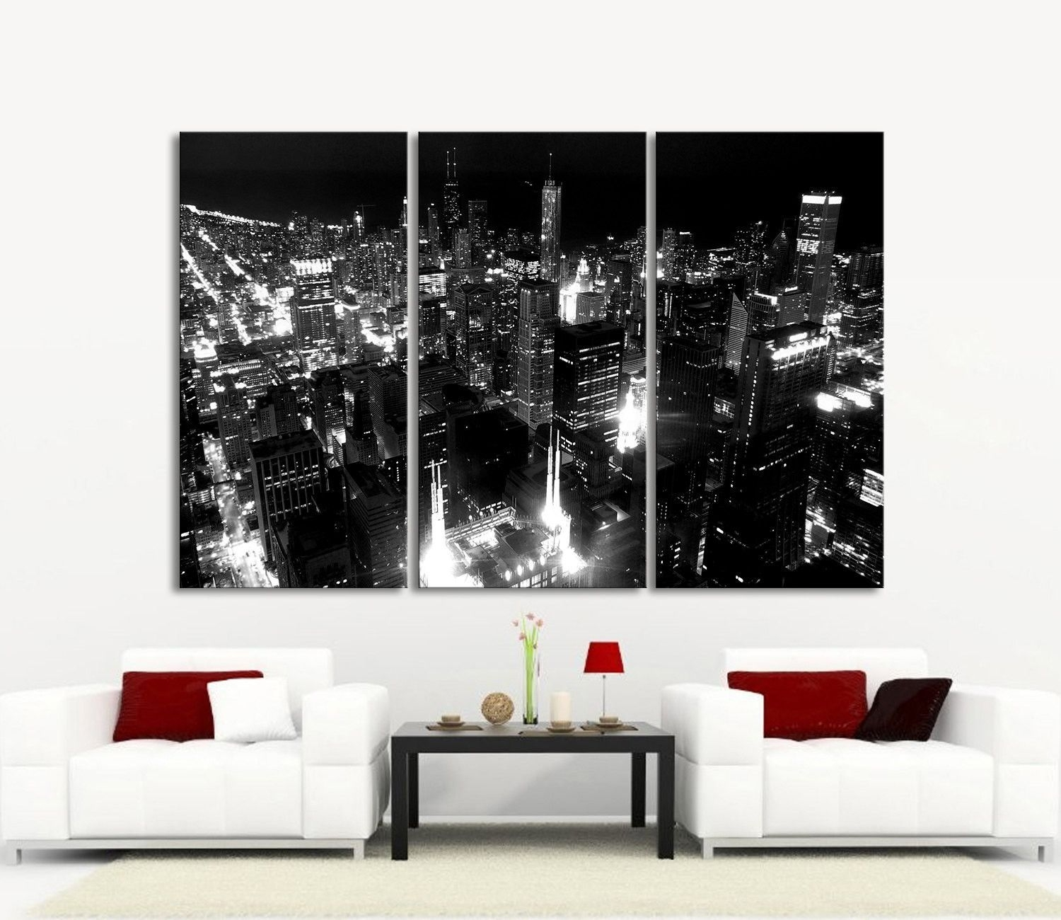 Large Wall Art Canvas Print Chicago City Skyline At Night - 3 pertaining to Most Recent Framed Canvas Art Prints