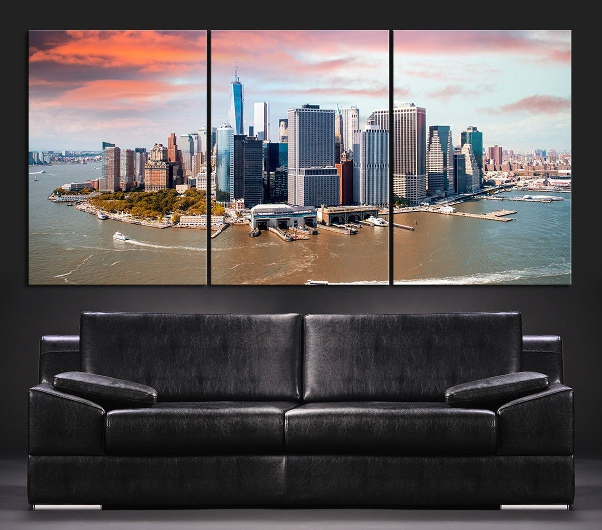 Large Wall Art Canvas Print + Skyline Panorama New York Manhattan Pertaining To Most Recently Released Murals Canvas Wall Art (View 9 of 15)