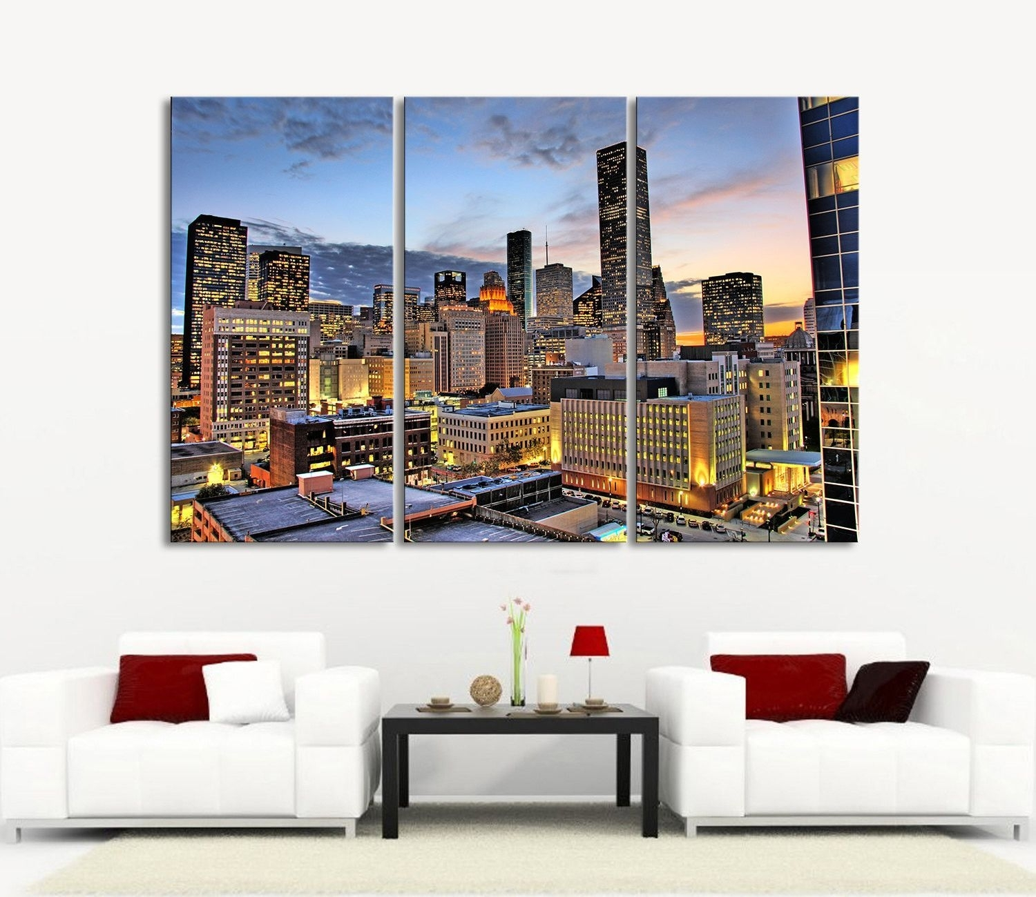 Large Wall Art Canvas Prints Houston Night Landscape Canvas Print intended for Most Recent Houston Canvas Wall Art