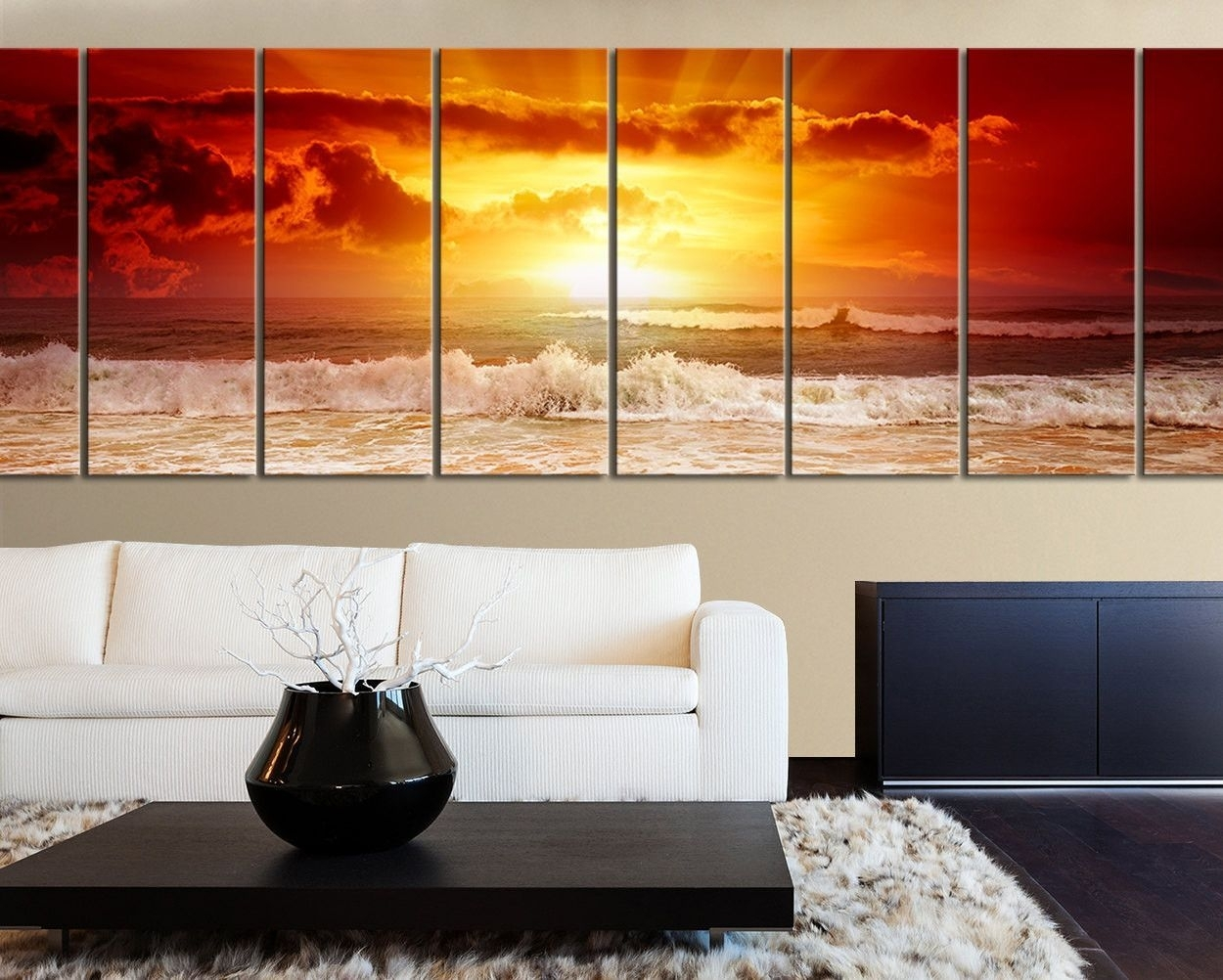 Large Wall Art Canvas Sunset Ocean Print – Xxl Wall Canvas Art In Most Current Ocean Canvas Wall Art (Gallery 15 of 15)