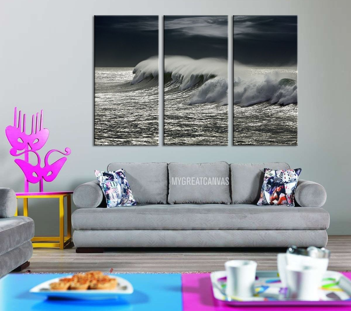 Large Wall Art Giclee 3 Panel Canvas Print - Black And White Ocean with Newest Ocean Canvas Wall Art