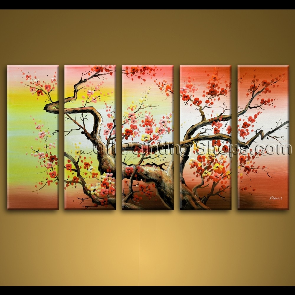 Large Wall Art Hand Painted Abstract Floral Oil Painting Canvas With 2018 Hand Painted Canvas Wall Art (View 7 of 15)