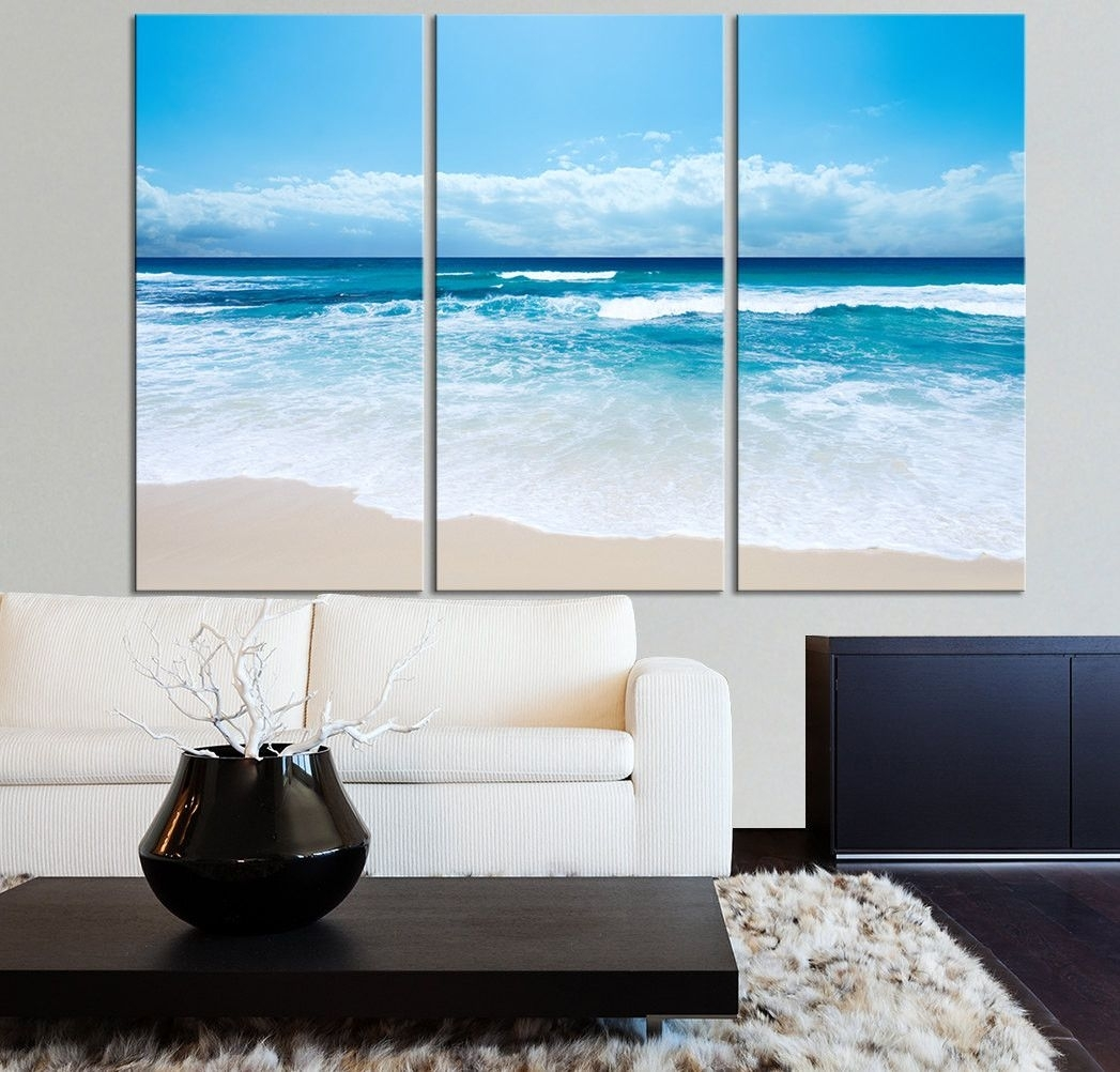 Large Wall Art Ocean Beach And Wave Canvas Print – Seascape Regarding Most Current Ocean Canvas Wall Art (Gallery 6 of 15)