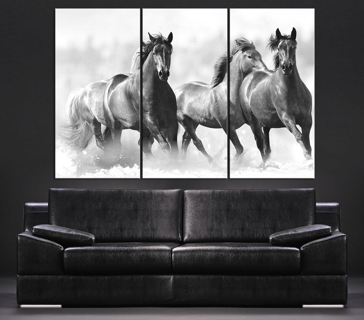 Large Wall Art Running Wild Horses Canvas From Mycanvasprint regarding Newest Horses Canvas Wall Art
