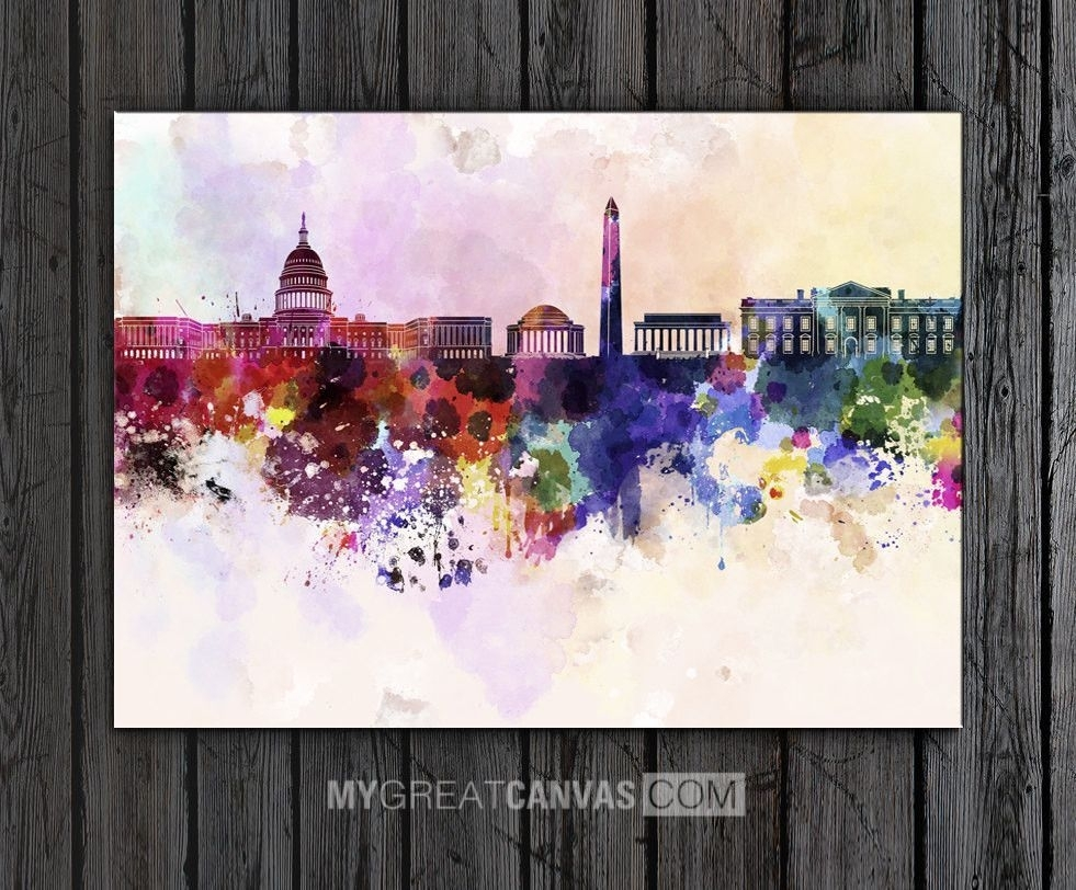 Large Wall Art Watercolor Ink Splashed Washington Skyline Art Within 2018 Washington Dc Framed Art Prints (View 4 of 15)