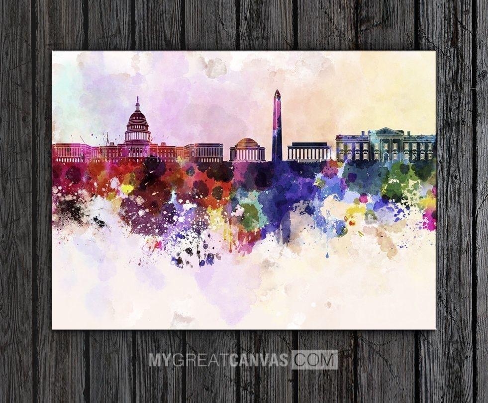 Large Wall Art Watercolor Ink Splashed Washington Skyline Art Within 2018 Washington Dc Framed Art Prints (View 8 of 15)