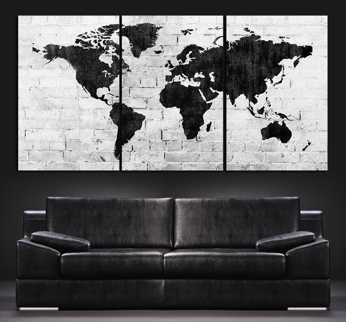Large Wall Art World Map Canvas Print - Contemporary 3 Panel inside Latest Maps Canvas Wall Art