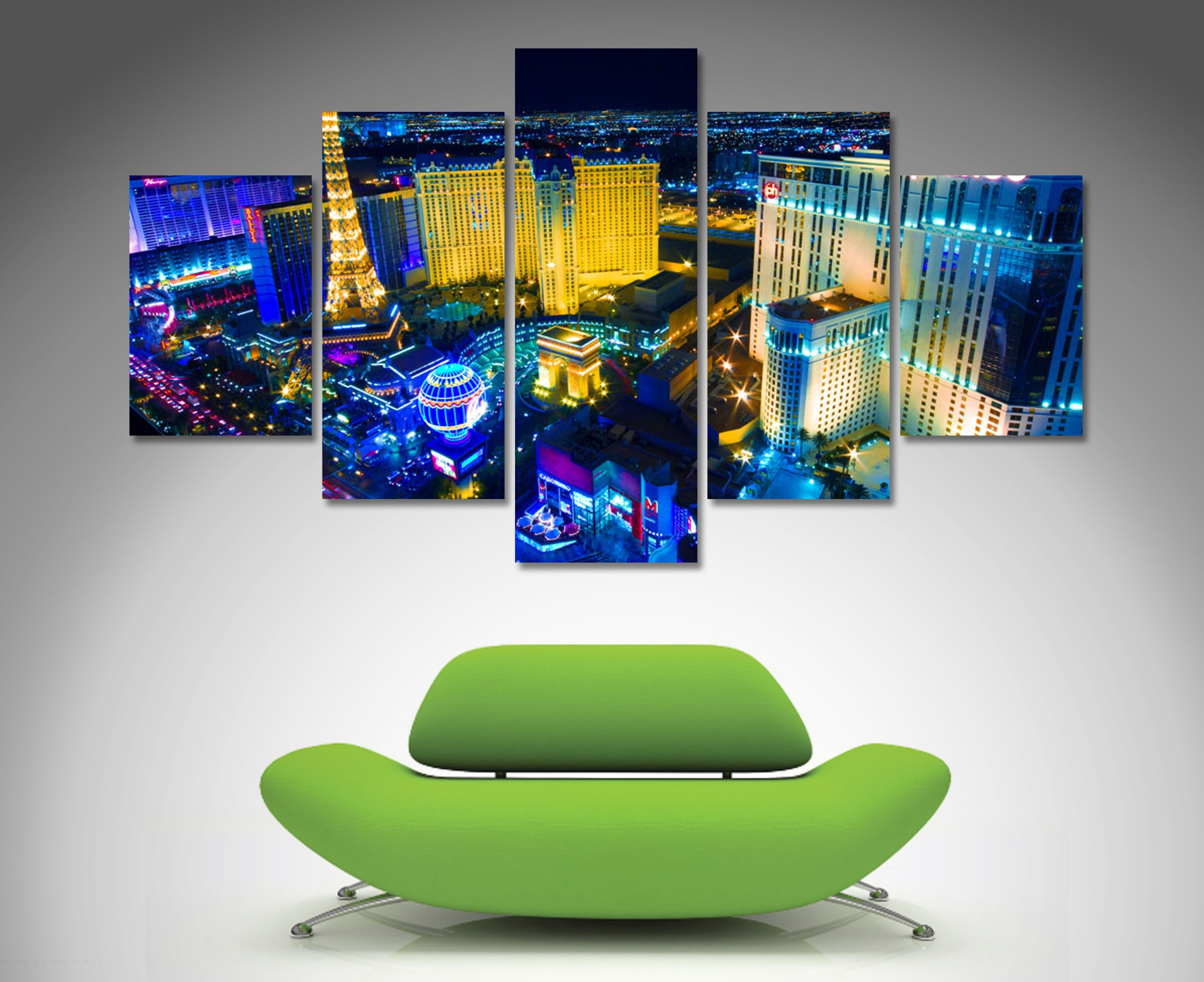 Las Vegas 5 Panel Diamond Shape Canvas Prints Http://www Within Recent Las Vegas Canvas Wall Art (View 5 of 15)