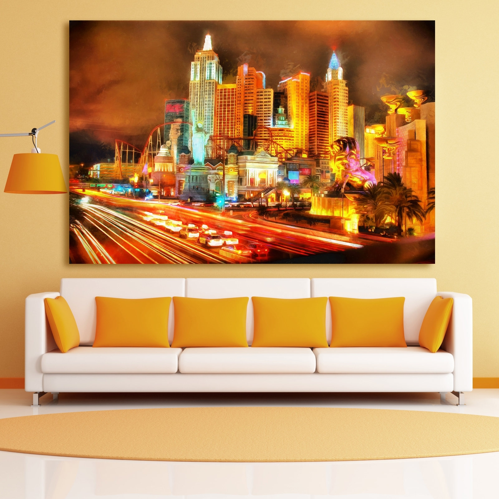 Las Vegas Night Skyline Canvas, Large Art Wall Oil Painting, Las Pertaining To Current Las Vegas Canvas Wall Art (View 6 of 15)