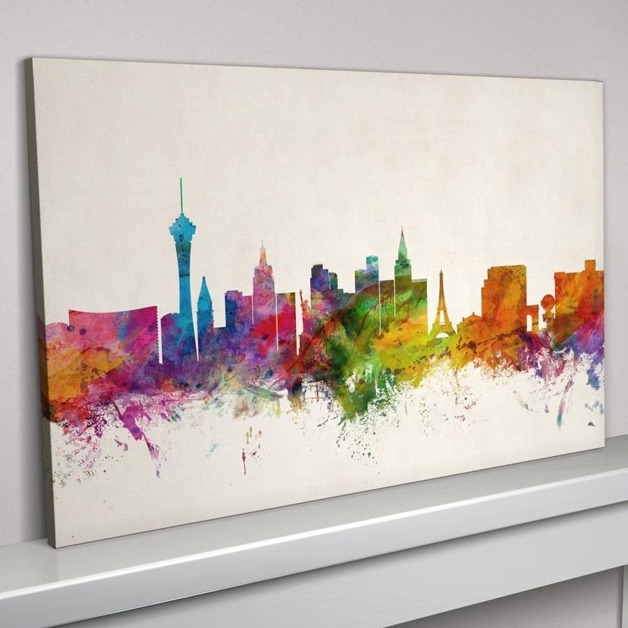 Las Vegas Skyline Cityscape Art Printartpause Inside Latest Las Vegas Canvas Wall Art (View 7 of 15)