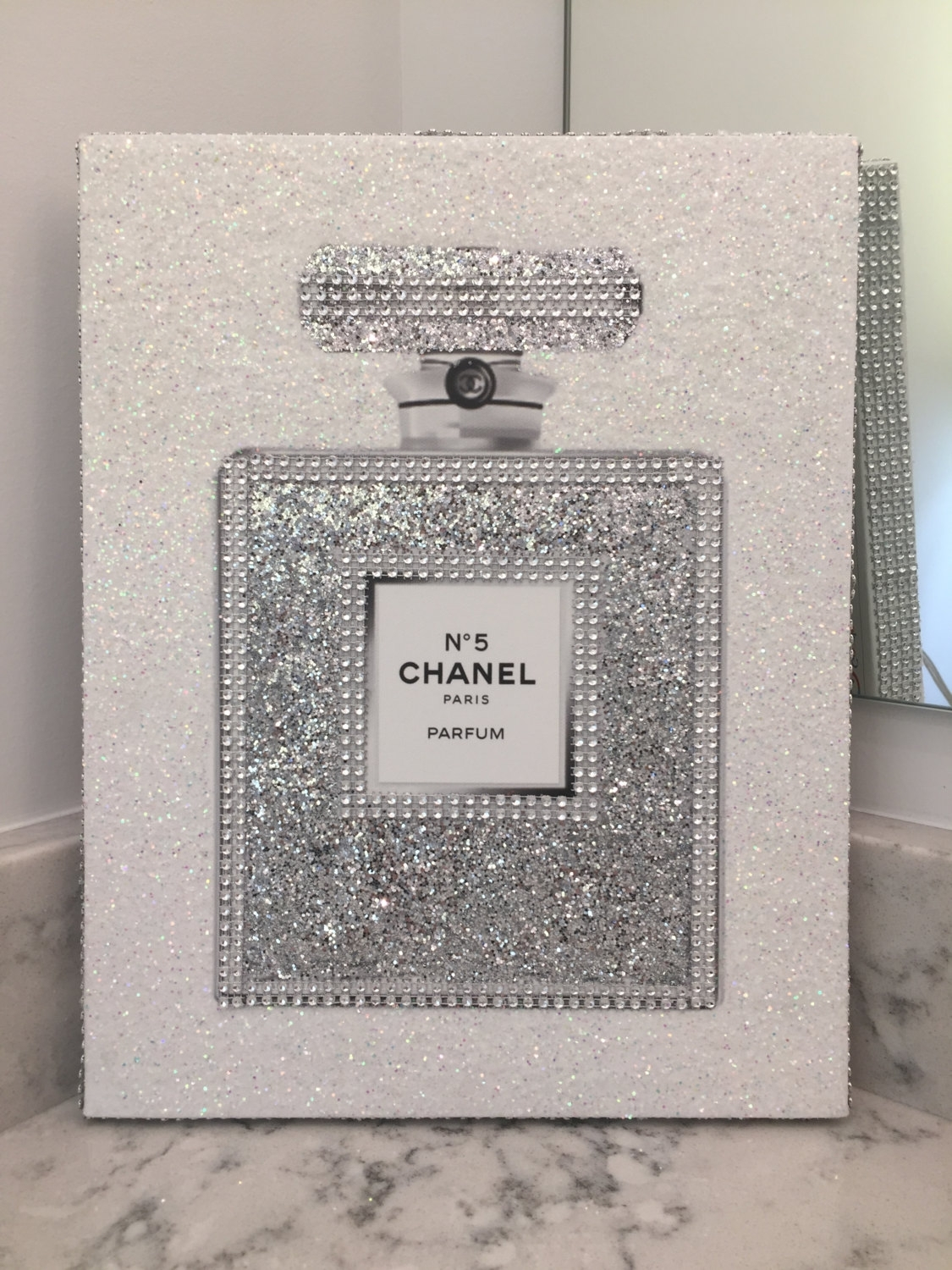Last One Left! Canvas Wrapped Embellished Art Print Chanel No. 5 inside Best and Newest Embellished Canvas Wall Art